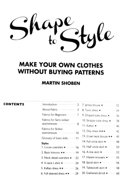 Shape to Style contents page